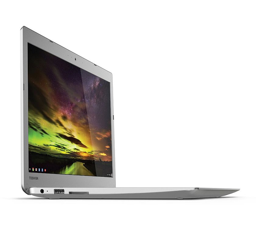 Toshiba CB35-B3340 13.3 Inch Chromebook (Intel Celeron, 4GB, 16GB SSD, Silver) Full HD-Screen