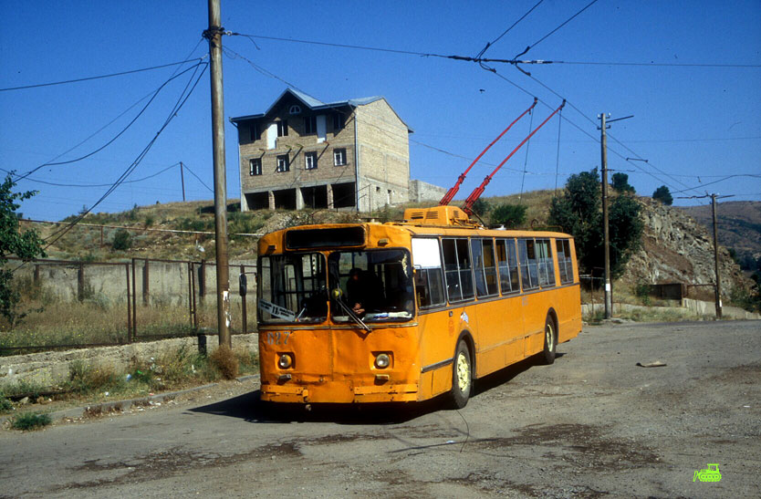 ZiU-9 Trolleybus on its route (Tbilisi suburbs)