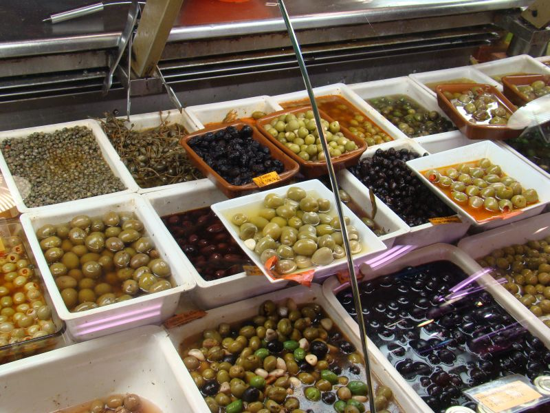 Olives at La Boqueria Market in Barcelona