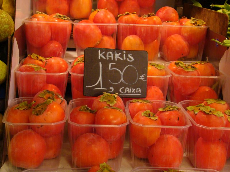 Kakis at La Boqueria Market in Barcelona