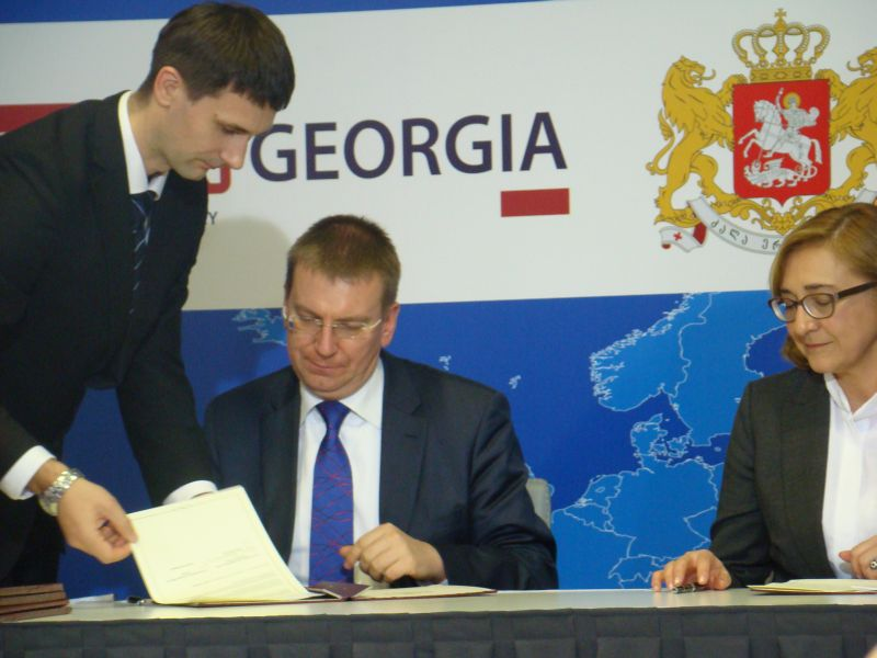 Ministers of Foreign affairs of Latvia (Edgars Rinkevics) and Georgia Tamar Beruchashvili