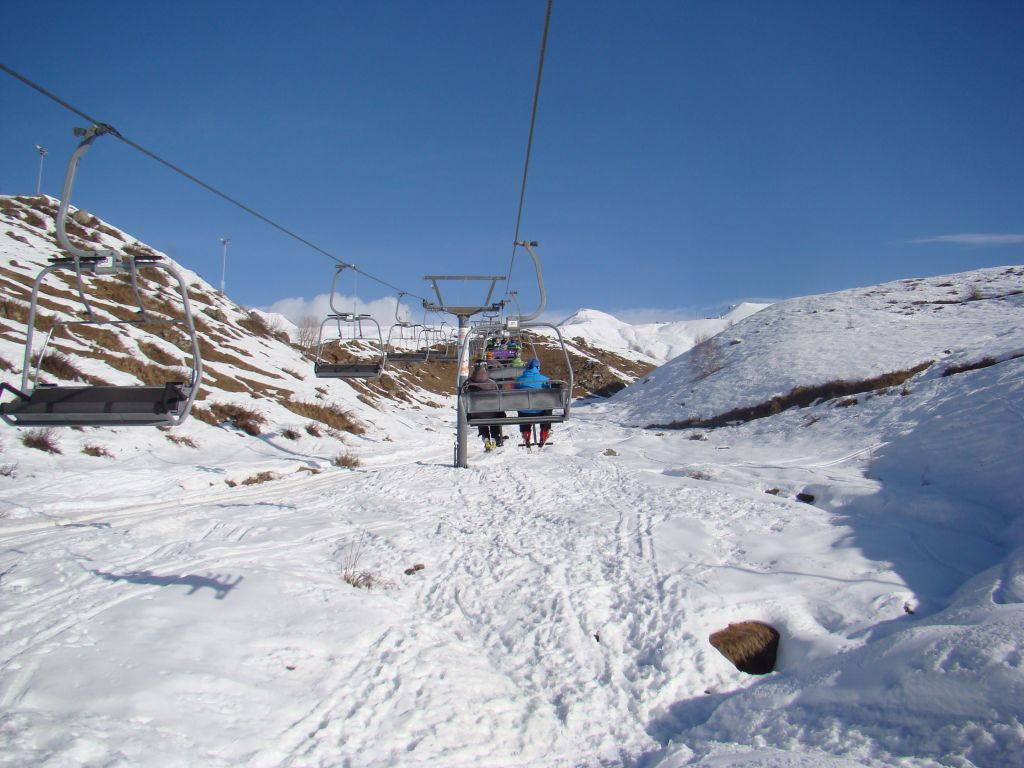 Open cabin ski lifts at Gudauri