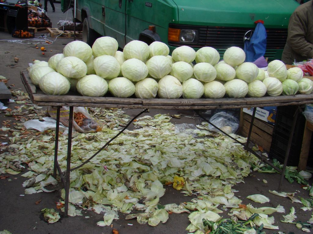 Cabbages for sale at Tbilisi market