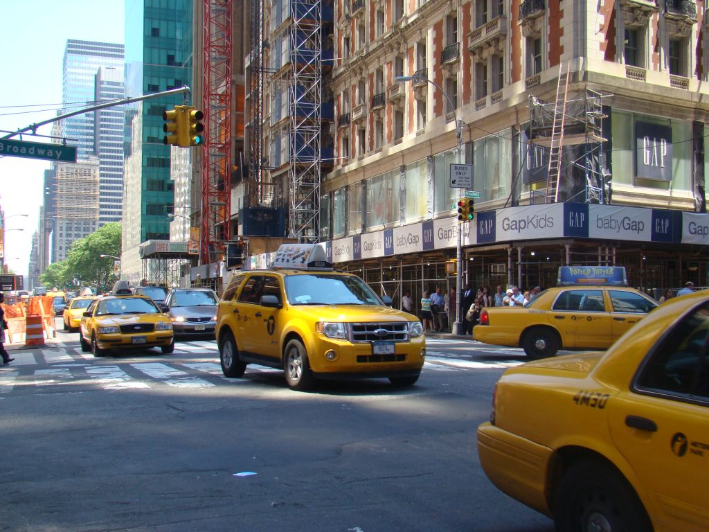 Visit card of Manhattan - yellow taxi cabs