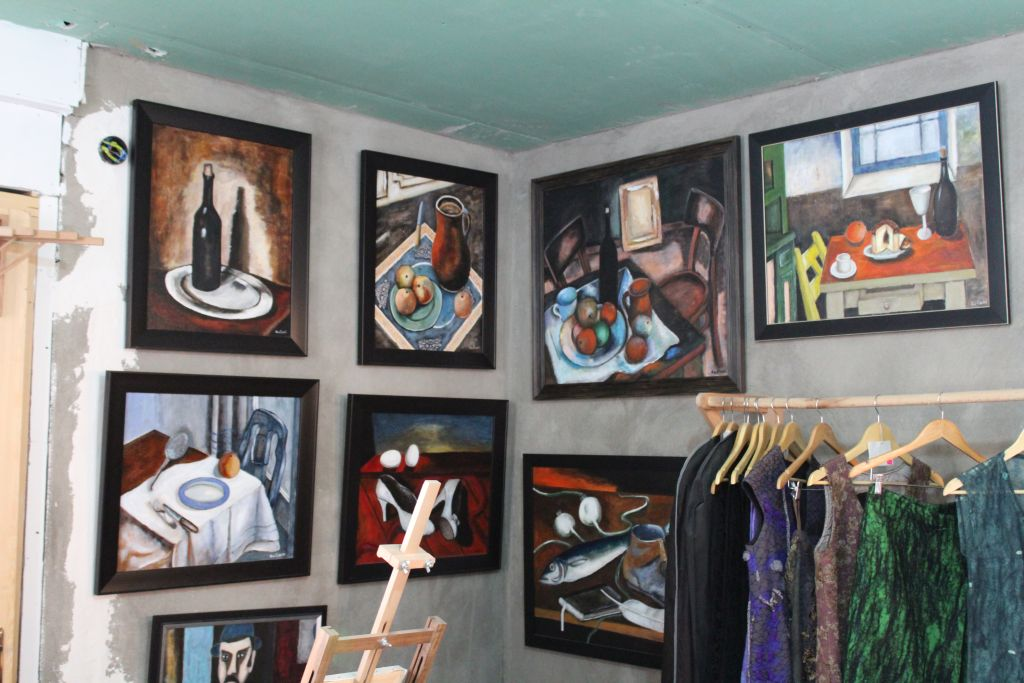 Paintings and dresses at Kon - Tiki Art Studio