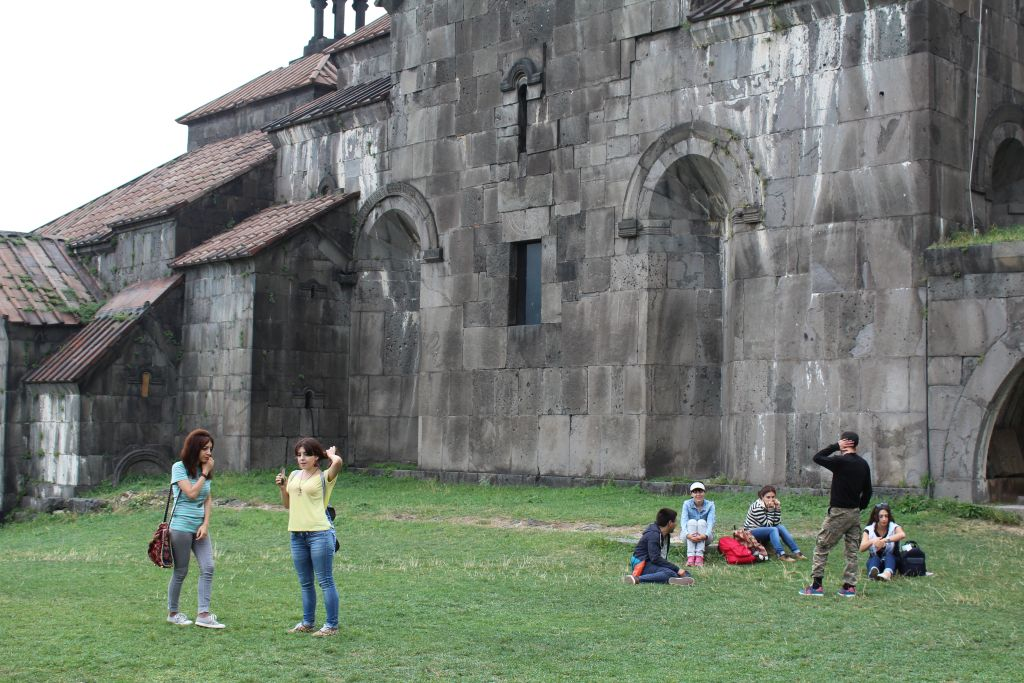 Tourists in rest at Haghpat monastery