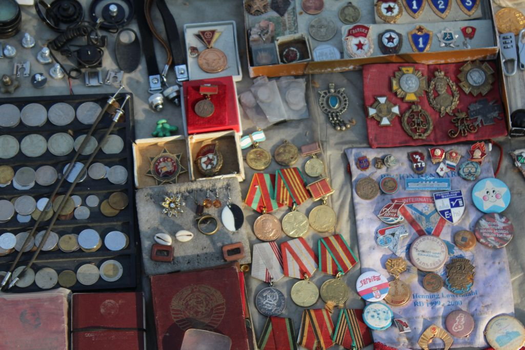 Soviet medals for sale at Dry Bridge market