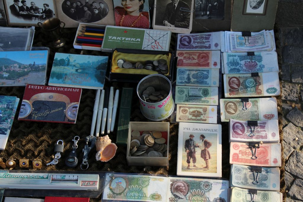 Old Soviet Roubles for sale at Tbilisi Dry Bridge's flea market