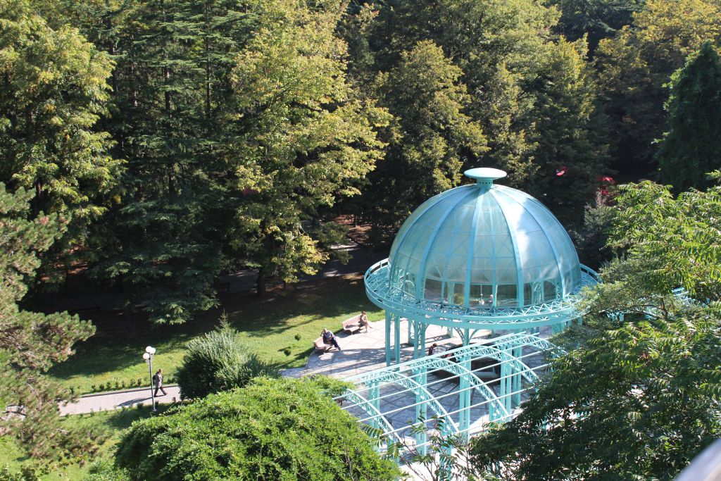 Glass dome house in Borjomi Mineral water park