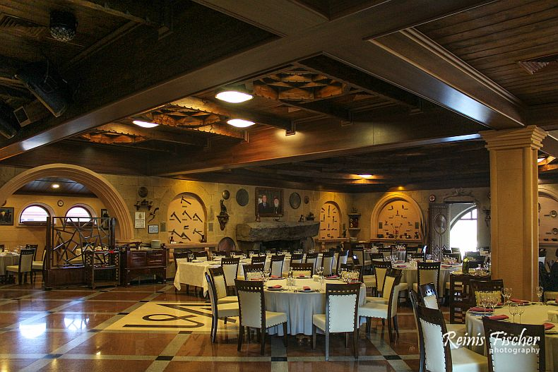 Dining hall at Gujari restaurant museum in Mtskheta