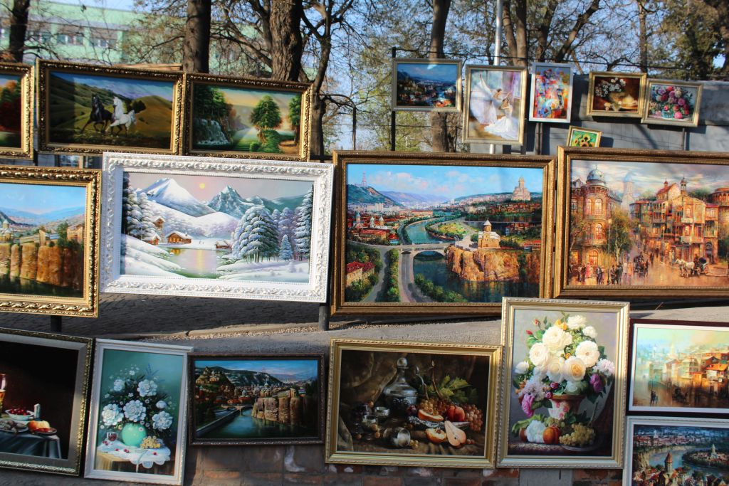Paintings for sale at Dry Bridge's Flea market