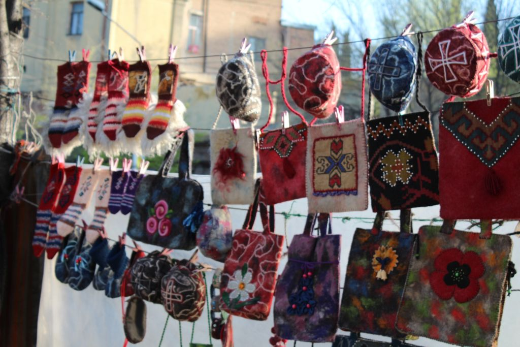 Wool made accessories at Dry Bridge's Flea market