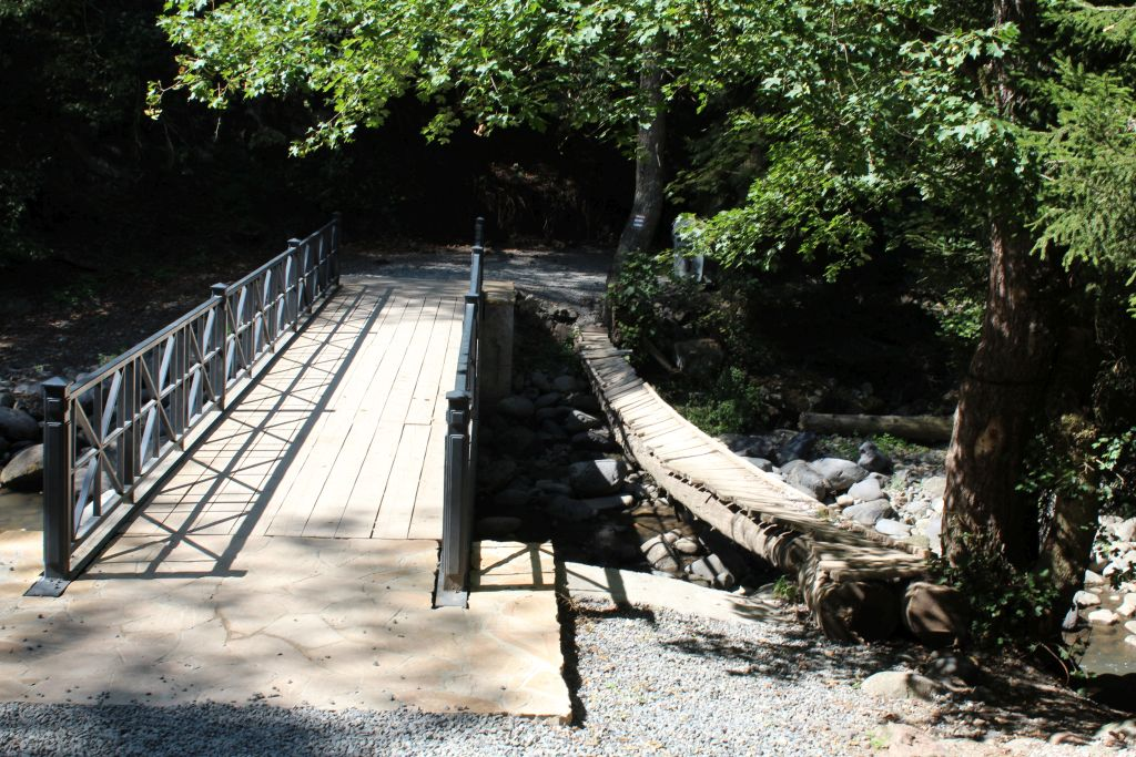 Newly constructed and old wooden bridge in Borjomi