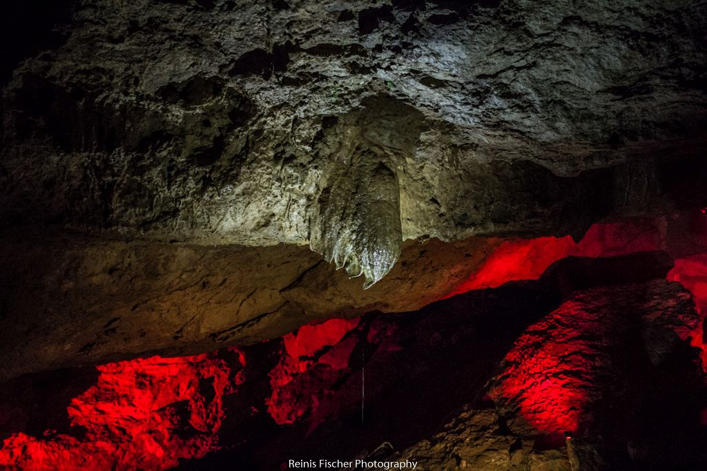 Light decorated limestones  inside Prometheus cave