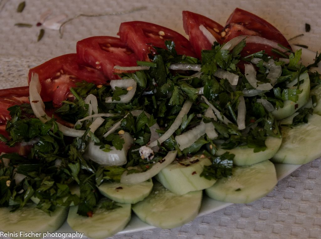 Traditional Georgian tomatoes & cucumber salad