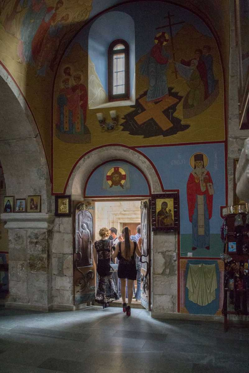 Visitors at Motsameta monastery complex