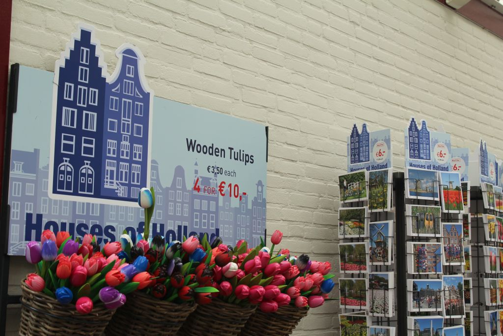 Wooden tulips for sale at Keukenhof