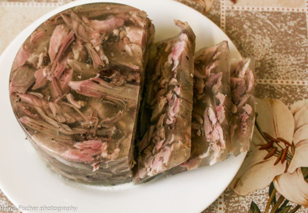 Homemade aspic (meat jelly)