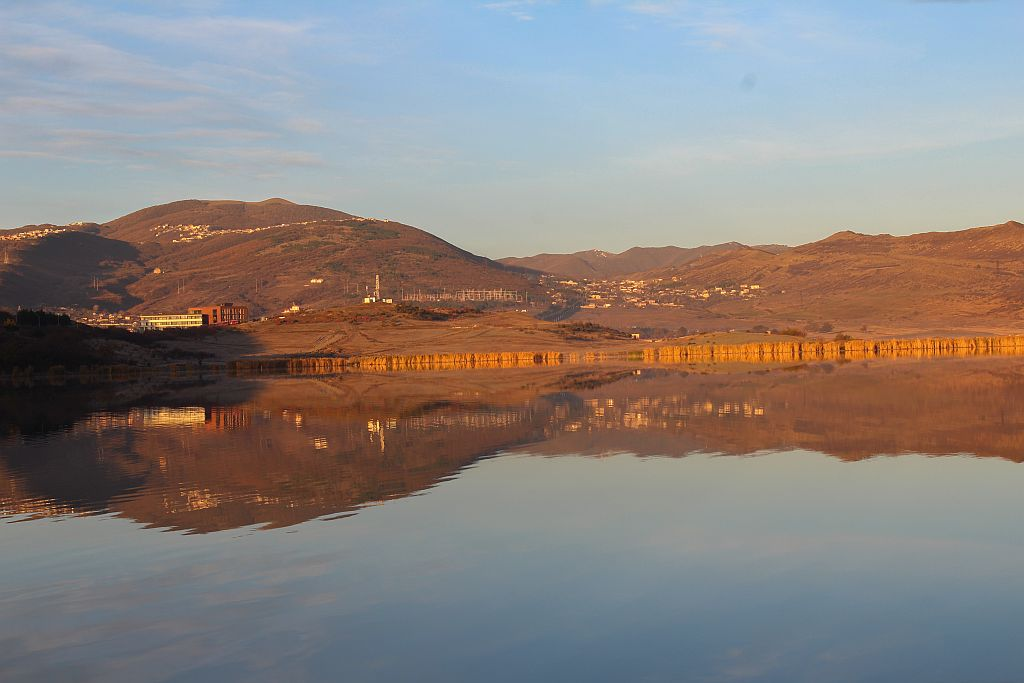 Spectacular water reflections on Lisi lake in Tbilisi
