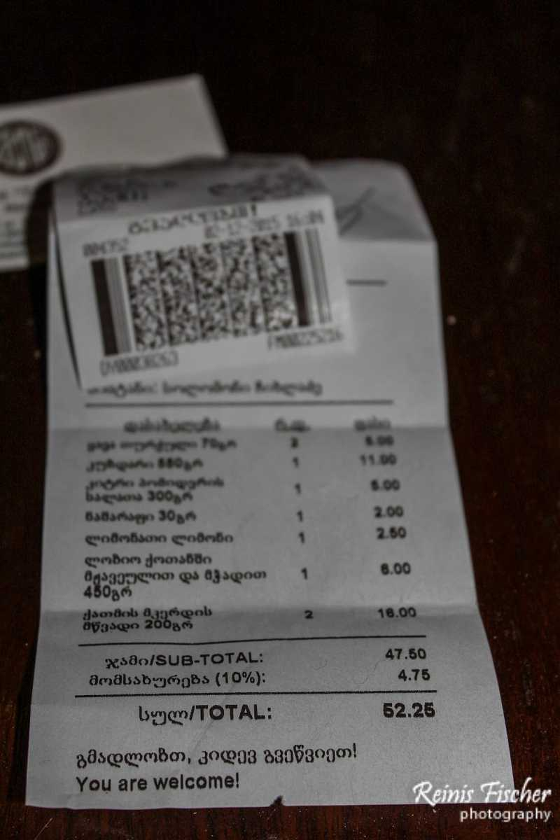 Overall bill at Tsisikvili restaurant