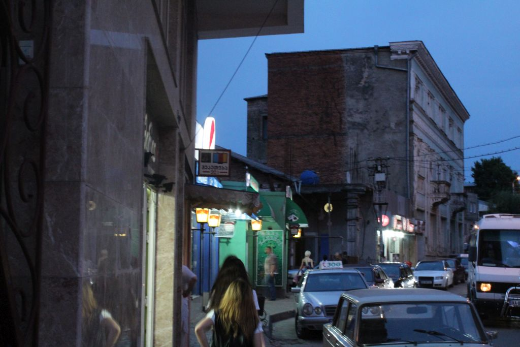 a lively Brosse street next to hotel Edemi in Kutaisi