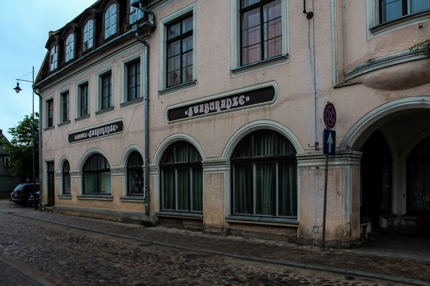 Cafe Staburadze building in Kuldiga