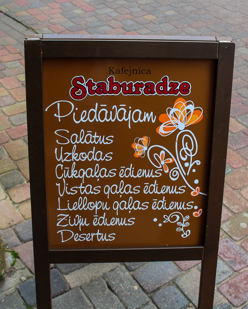 Menu at Cafe Staburadze