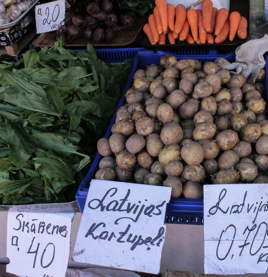 Sorrels and potatoes for sale at Riga Central market