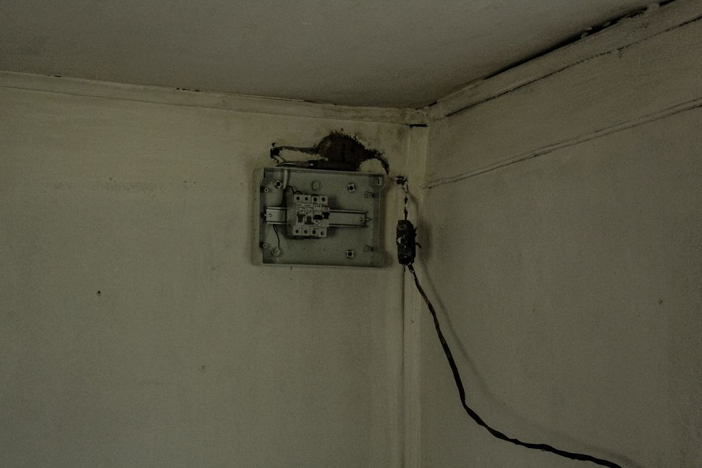 Electrical switches box being installed