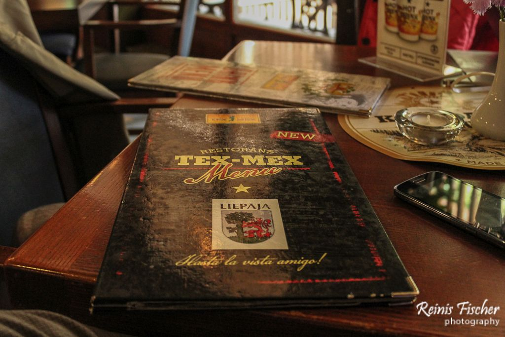 Menu at Tex-Mex Klondaika restaurant
