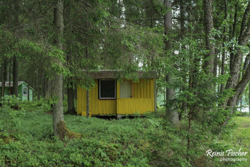 Abandoned camping house at Podnieku lake