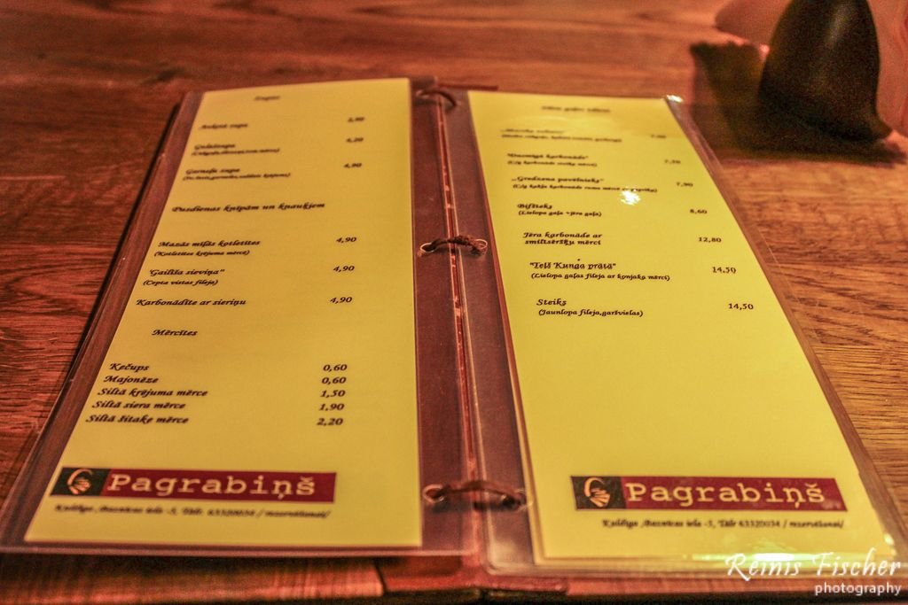 Menu at cafe Pagrabins