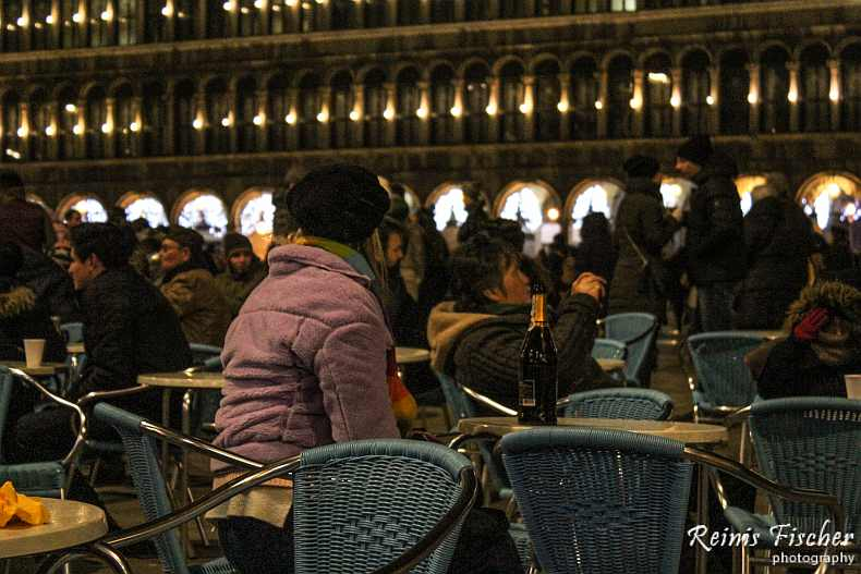 Venetians and tourists celebrating New year of 2016 in St Mark square