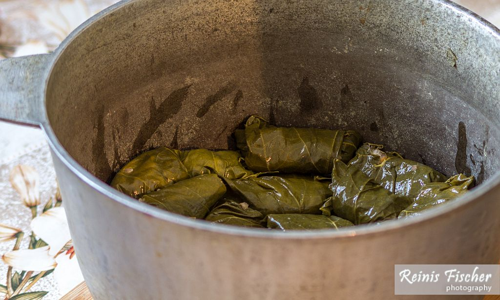 Wrapped dolma rolls in pot