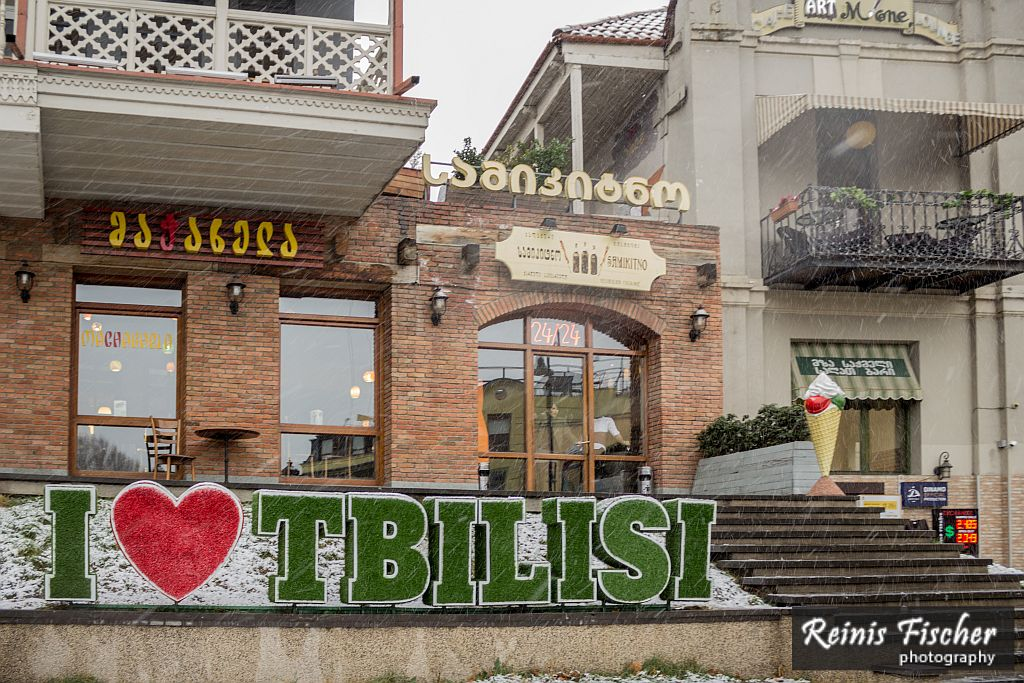 I Love Tbilisi sign at restaurant