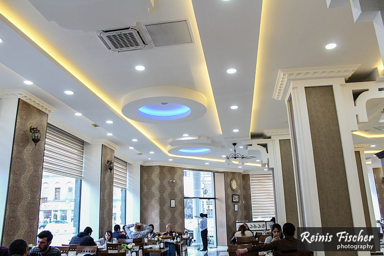 Spacious dining hall at Karabak restaurant
