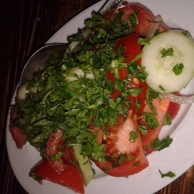 A Cucumber and tomatoes salads