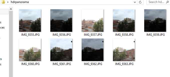 Folder structure for HDR panorama