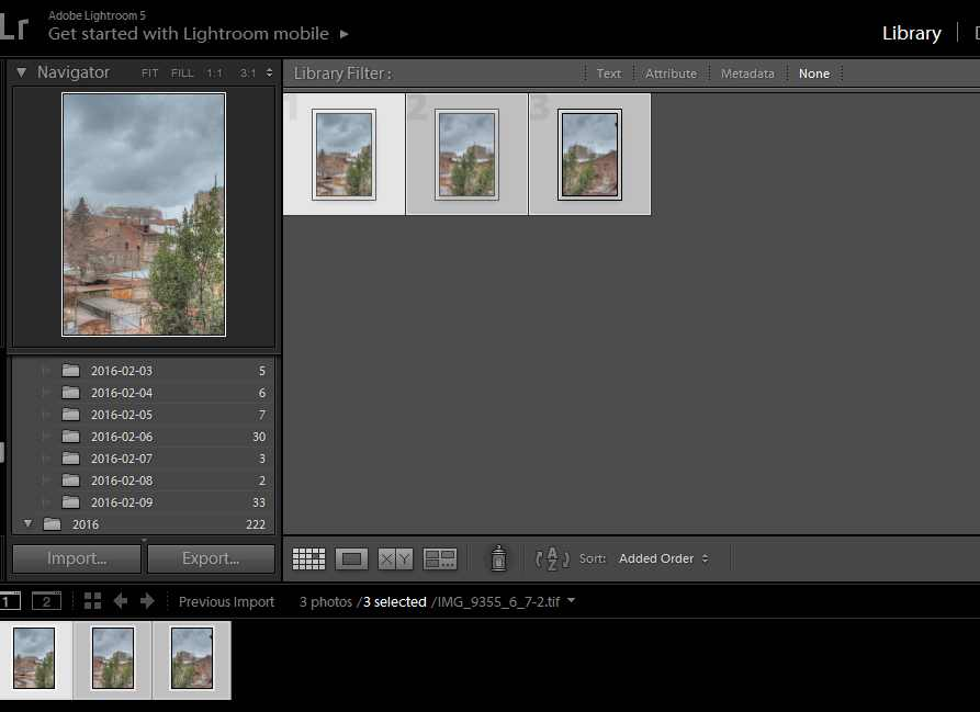 HDR images imported in Adobe Lightroom