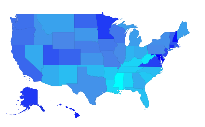Median Household Income in US by State in 2014
