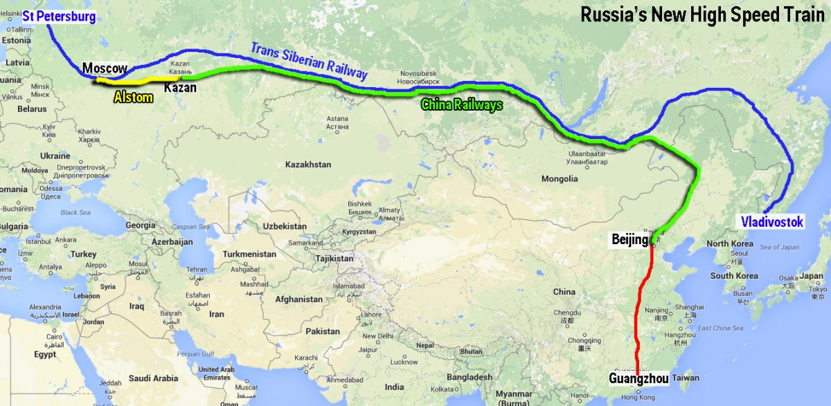 Russia China high speed train