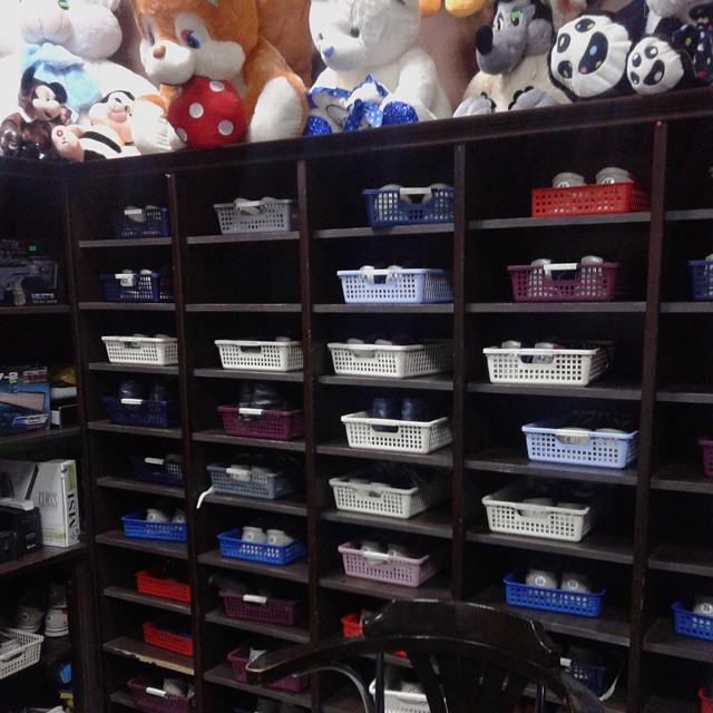 Shoes shelf at Kopola Bowling Centre