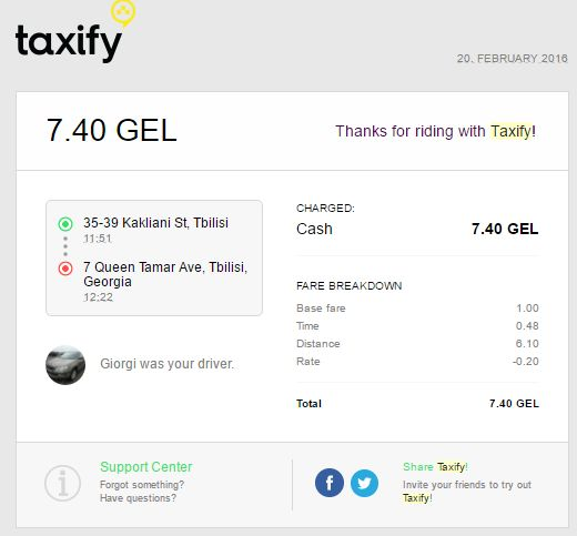 Invoice from taxify