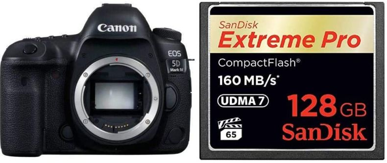 Canon EOS 5D Mark IV Full Frame Digital SLR Camera Body with 128GB CompactFlash Memory Card