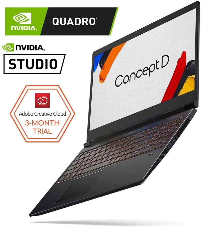 "ConceptD 3 CN315-71P-78QP Creator Laptop, Intel Core i7-9750H, NVIDIA Quadro T1000, NVIDIA Studio, 15.6"" FHD IPS, 100% DCI-P3 Color Gamut, Pantone Validated, Delta E<2, 16GB DDR4, 512GB NVMe SSD"