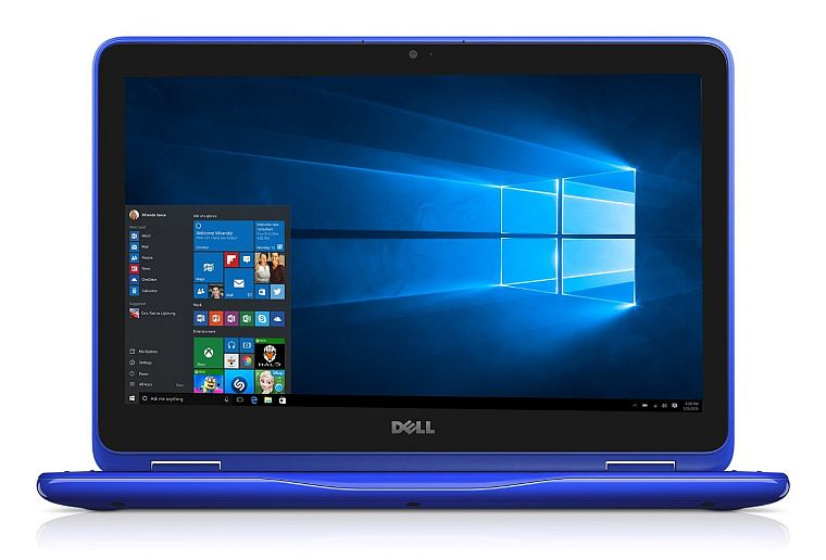 "Dell i3168-0028BLU 11.6"" HD 2-in-1 Laptop (Intel Celeron N3060 1.6GHz Processor, 2 GB DDR3L SDRAM, 32 GB SDD, Windows 10 Microsoft Signature Image) Bali Blue"