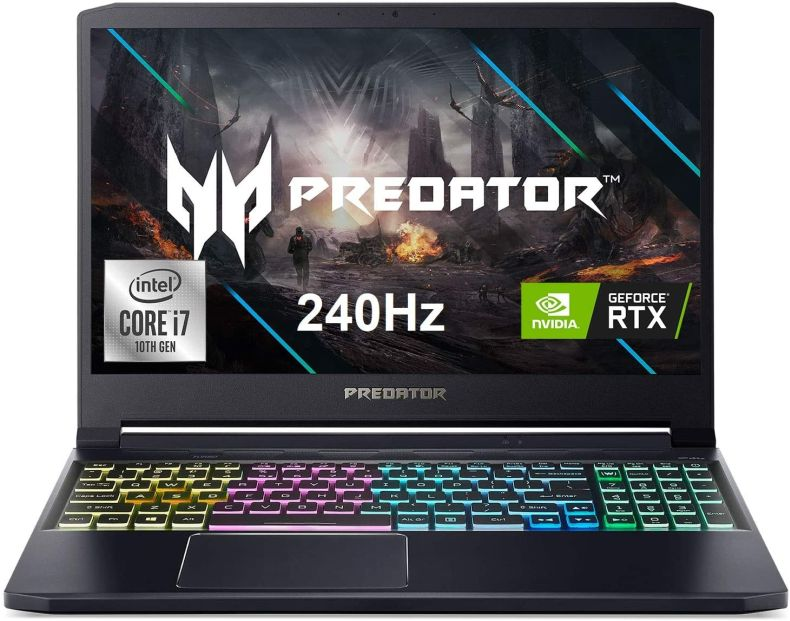 "Acer Predator Triton 300 Gaming Laptop, Intel i7-10750H, NVIDIA GeForce RTX 2070 Max-Q, 15.6"" FHD 240Hz 3ms IPS Display, 16GB Dual-Channel DDR4, 512GB NVMe SSD, WiFi 6, RGB Backlit KB, PT315-52-73WT"