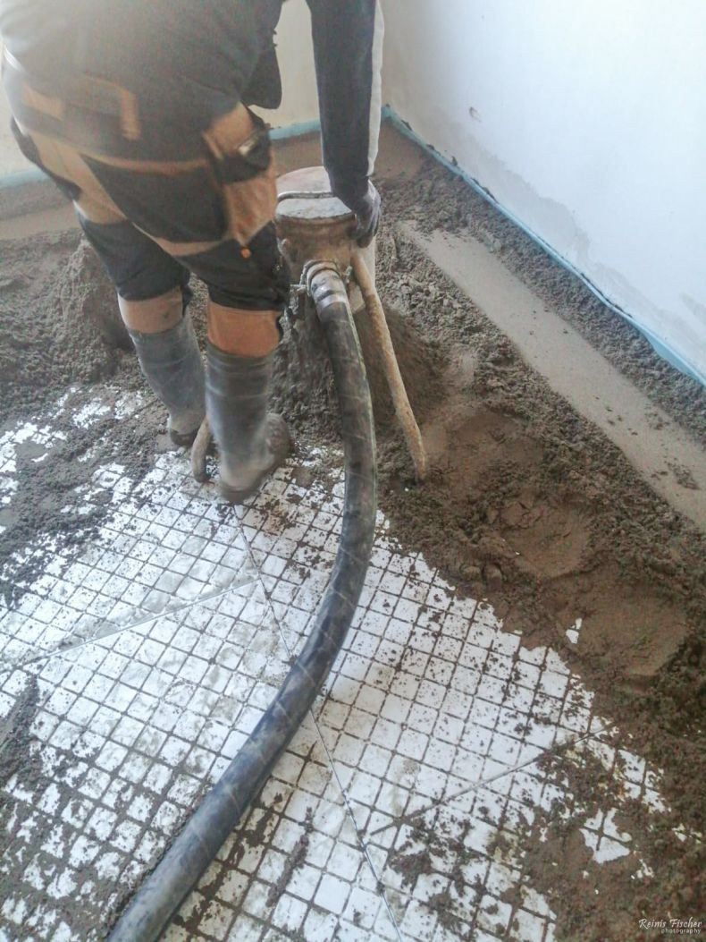Pouring in new concrete floor