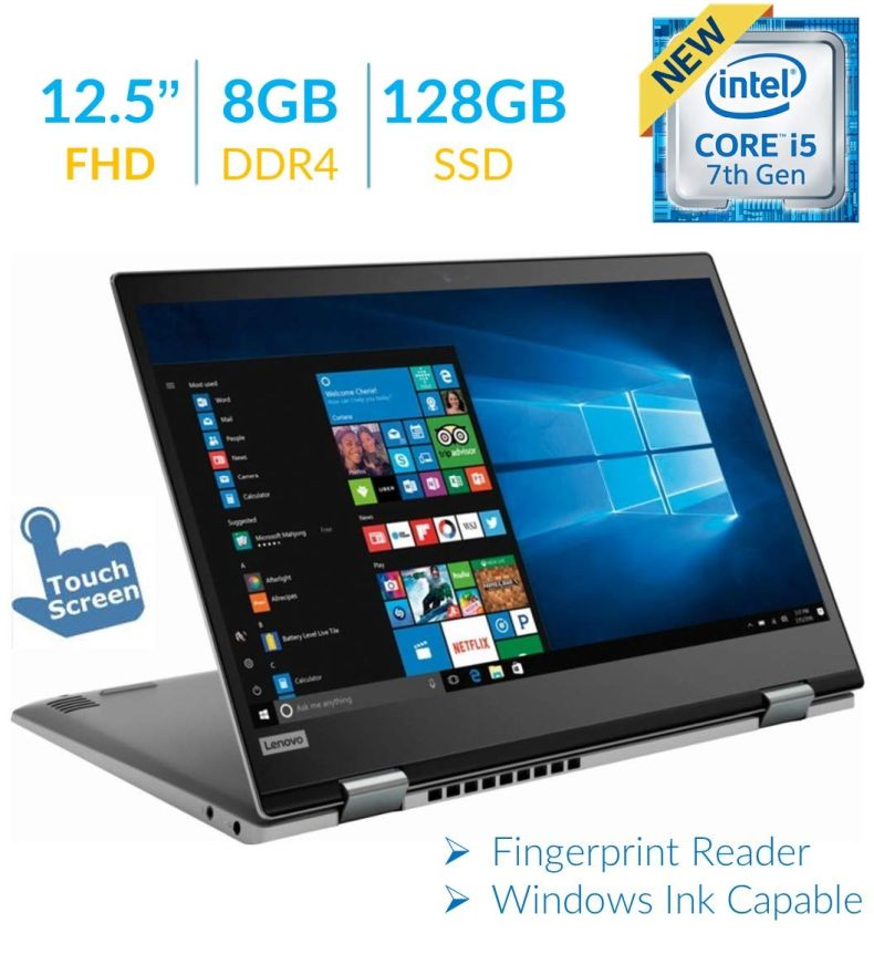 Lenovo Yoga 720 12.5'' 2-in-1 Touchscreen FHD IPS (1920 x 1080) Laptop PC, Intel Core i5-7200U, 8GB DDR4, 128GB SSD, USB Type-C, Bluetooth, Fingerprint Reader, Built for Windows Ink, Windows 10