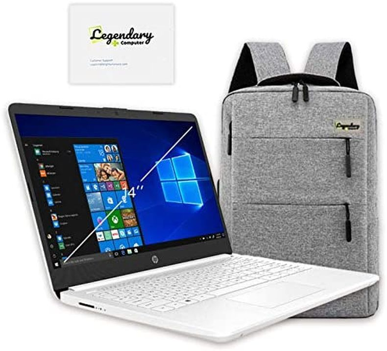 HP 14 inch HD Laptop, Intel Celeron N4020 up to 2.8 GHz, 4GB DDR4, 64GB eMMC Storage, WiFi 5, Webcam, HDMI, Windows 10 S /Legendary Accessories (Google Classroom or Zoom Compatible) (White)